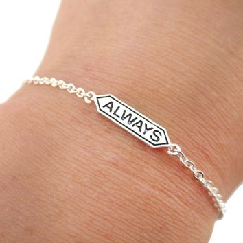 "Harry Potter Themed ""Always"" Snape and Lily Remembrance Charm Bracelet in Silver"