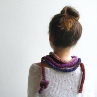 Crochet jewelry - Skinny scarf fall colors - extra long necklace - dark red to pink