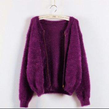 Mohair Zipper Solid Color Loose Scoop Sweater