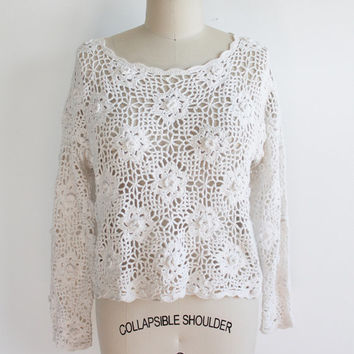 Vintage 90s Open Crocheted Cotton Sweater | small to large