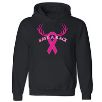 Zexpa Apparel™ Save a Rack Unisex Hoodie Breast Cancer Awareness Month Run Hooded Sweatshirt