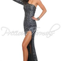 Precious Formals P8909 Black/Antique One Shoulder Evening Gown