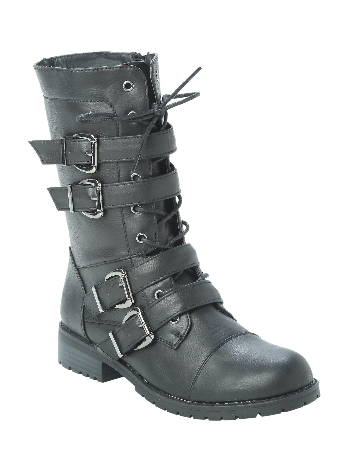 Black Four Buckle Strap Combat Boot From Hot Topic