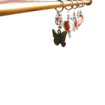 Set of 5 Dark Pink Bead Stitch Markers with Butterfly Charm