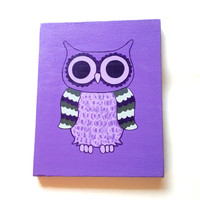Owl bird purple acrylic canvas painting for trendy baby nursery, girls room, dorm room, or home decor