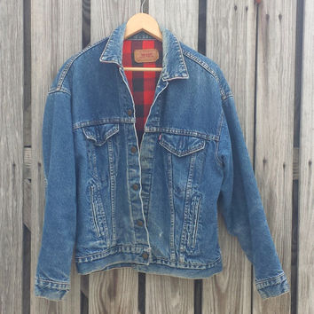 VTG USA Made Levi Strauss Flannel Lined Denim Jean Trucker Jacket size M - Nice