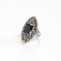 Vintage Art Deco Simulated Hematite & Marcasite Ring - Size 5 1/2 1930s Sterling Silver Gray Glass Statement Fan Hallmarked Uncas Jewelry