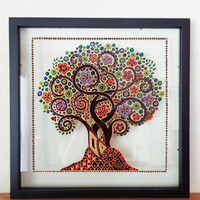 "Tree of life art 15x15"" Glass painting Wall decor"