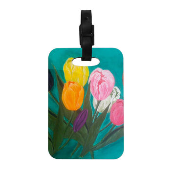 "Christen Treat ""Tulips"" Rainbow Flower Decorative Luggage Tag"