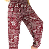 women harem pants/hippie pants/boho clothing elephant design one size fits all strenchy red