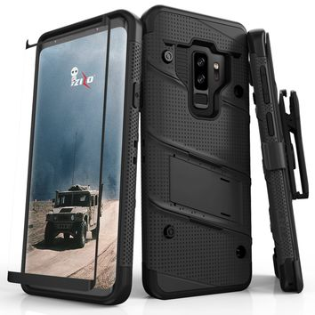 Zizo Bolt Case for Samsung Galaxy S9 Plus - 12 ft. Drop Tested + Curved Full Tempered Glass Screen Protector