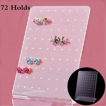 72 Holes Shcase Rack Jewelry Earring Board Holder Ear Studs Display Stand Jewelry Display Stand