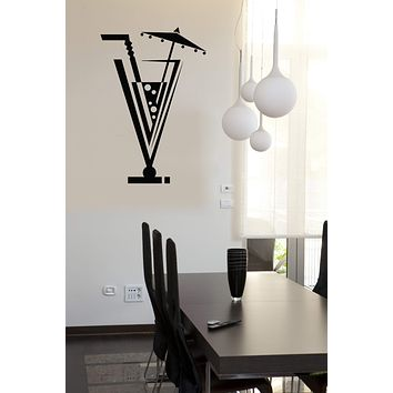 Wall Vinyl Decal Drinks Collection Cocktail Glass Straw Umbrella Home Decor n847