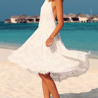 White POLO Collar Open Back Sleeveless Lace Crochet Hollow Knitted  Beach Midi Dress