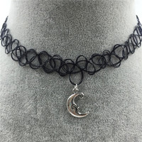 Tattoo Choker Necklace with Moon Pendant + Gift Box-31