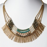 Gold Multi-Color Jewel Fringe Necklace/Earring Set