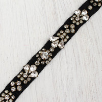 Antique Art Deco Rhinestone Hair Band - 1940s Black Belt or Sash with Prong Set Clear Glass / Great Gatsby Hair Accessory
