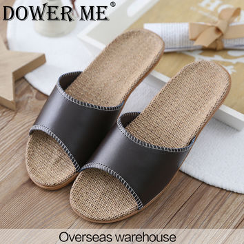 2017 New Fashion Summer Home Slippers PU Leather Men Slippers High Quality Hemp Indoor Shoes Lovers Non-Slip House Slippers 8836