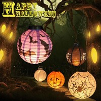 Halloween Decoration LED Paper Pumpkin Light Hanging Lantern Lamp Halloween