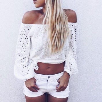 Off Shoulder Blouse Summer White Long Sleeve Crochet Hollow Out Eyelet Top