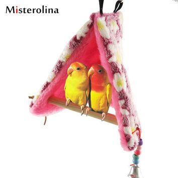 EZLIFE Pet Parrot Bird Toy Hammock Bed Fluffy Warm Hanging Cave Cage Bird Nest Shed Plush Snuggle Tent Bed Happy Hut XP0094