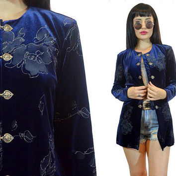 vintage 90s blue velvet duster jacket metallic glitter sparkle floral print clasp soft grunge shirt oversized long blouse top cyber small