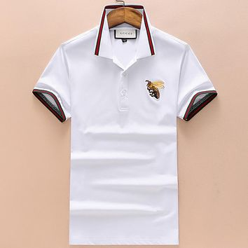 GUCCI 2018 new embroidered bee lapel Polo shirt short sleeve t-shirt F-A00FS-GJ White