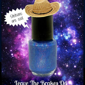 Leave The Brakes On - Custom TARDIS Blue Holographic Doctor Who 50th Anniversary Nail Polish