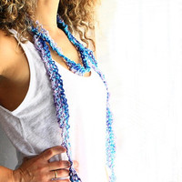 Skinny scarf crochet lariat, Lydia, in blue and purple shades