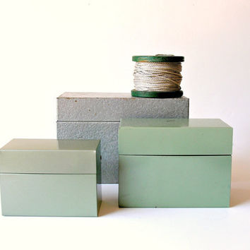 Set of 3 Vintage Metal Recipe File Boxes Stacking Nesting Green Silver Gray Instant Collection
