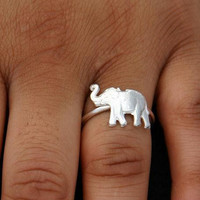 Sterling Silver Ring Elephant Jewelry Good Luck Trunk Up