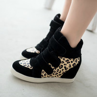 HOT New 2014 Brand Isabel Marant Autumn Women Winter Shoes Leopard Suede Ankle Boots Heels Platform Wedge Sneakers Free Shipping
