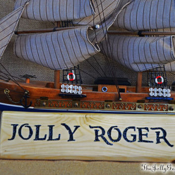Jolly Roger or Rolly Joger, Alter-Ego Name Plaque, Desk Sign, Carved Wood,  ABC's Once Upon a Time, Hook Had too Much Rum