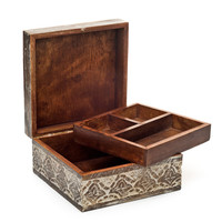 Antique Finished Carved Wood Jewelry and Keepsake Box