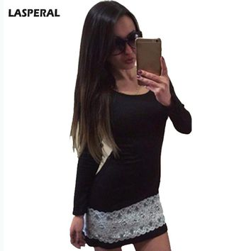 Black Mini Dresses Women Long Sleeve Round Neck Lace Patchwork Bottoming Bodycon Dress Ladies Spring Autumn Dress