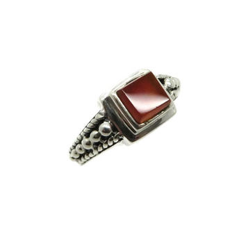 Amber Glass Sterling Silver Vintage Ring Square Brown Stone Gift Idea Vintage Jewelry, Size 6.5