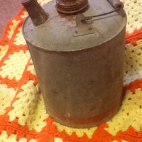 Antique metal gas can with red stripe remnants/ vintage garage tools/ galvanized steel can/ red stripe gas can