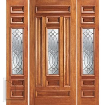 Pre-hung Mahogany Center Lite Entry Two Sidelights Door
