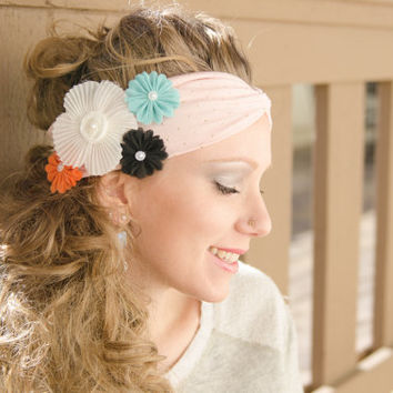 Pink Flower Headband, BoHo Headwrap, Flower Headwrap, Flower Headpiece, Tribal Fashion, Twist Headband, Winter Clothes