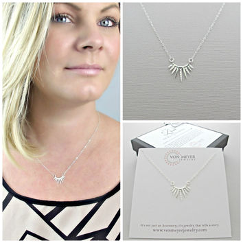 Silver Necklace, Spike Necklace, Minimalist Necklace, Simple Silver Necklace, Layering Necklace, Layered Necklace, Layering Jewelry, Pendant