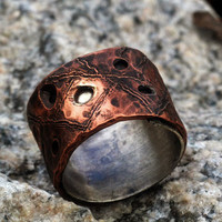 Wide Band Men's Wedding / Anniversary / Everyday Ring, Silver Lined Copper Ring, Crater Ring, Dots, Lines, Drilled Holes, Double Layer Ring