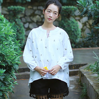 White Floral Pattern Long Sleeve Blouse