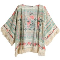 Sheinside Women's Apricot Half Sleeve Floral Tassel Cape Top