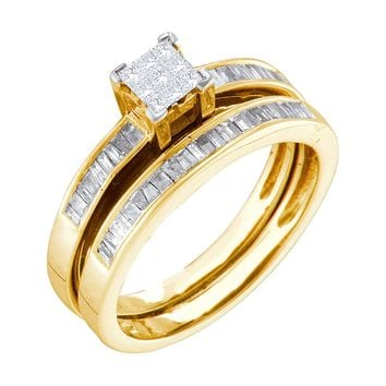 14k Yellow Gold 0.50ct Princess Baguette Cut Diamond Bridal Ring Set