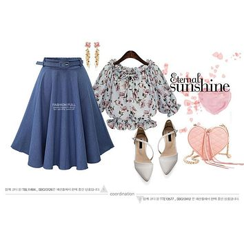 Retro High Waist Pleated Midi Skirt Denim