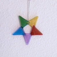 Iridescent Rainbow Glass Star Handmade Ornament for Holiday Decorating