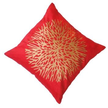 "16"" x 16"" with INSERT Sheen Soft Decorative Velvet Throw Pillow Luxury Shinny Square Cushion for Couch Sofa Bedroom and Living Room Red Gold Color"