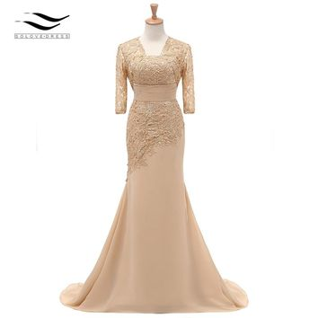 Elegant Three Quarters Half Sleeves Champagne Mermaid Lace Formal Evening Dress Gown With Jacket For Wedding Party SL-M002