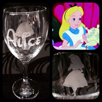 Personalised Disney Alice In Wonderland Silhouette Wine Glass With Free Name Engraved In Disney Font. Totally Unique Gift For Any Disney Fan