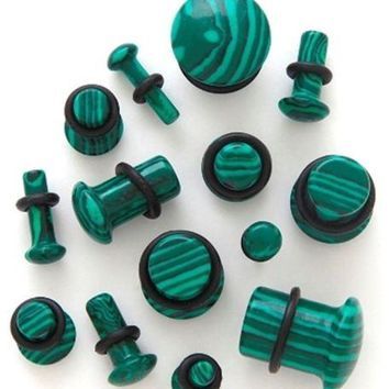 "PAIR-Stone Agate Malachite Green Single Flare Plugs 12mm/1/2"" Gauge Body Jewelry"